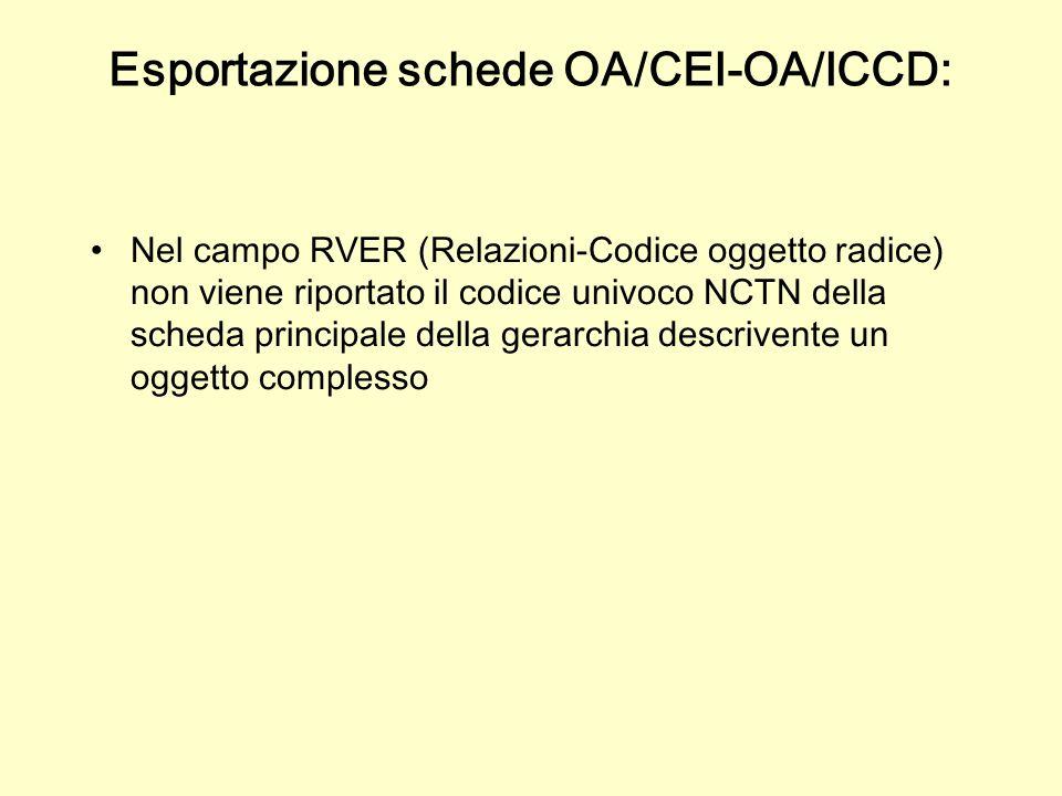 Nel campo RVER (Relazioni-Codice oggetto radice) non viene riportato il codice univoco NCTN della scheda principale della gerarchia descrivente un oggetto complesso Esportazione schede OA/CEI-OA/ICCD: