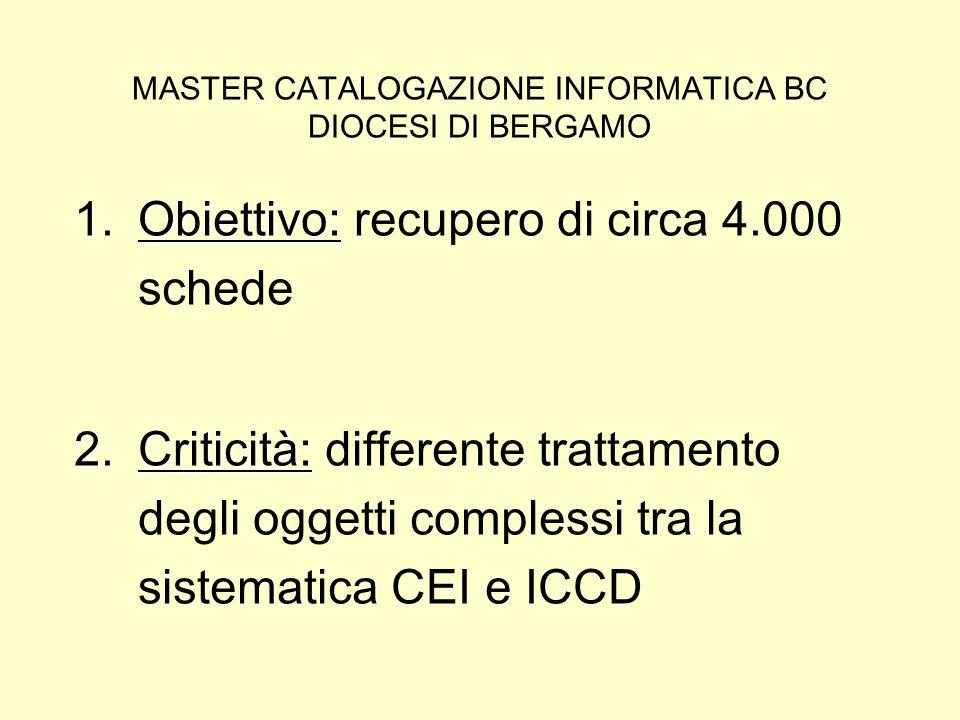 MASTER CATALOGAZIONE INFORMATICA BC DIOCESI DI BERGAMO 1.Obiettivo: 1.Obiettivo: recupero di circa 4.000 schede 2.Criticità: 2.Criticità: differente trattamento degli oggetti complessi tra la sistematica CEI e ICCD