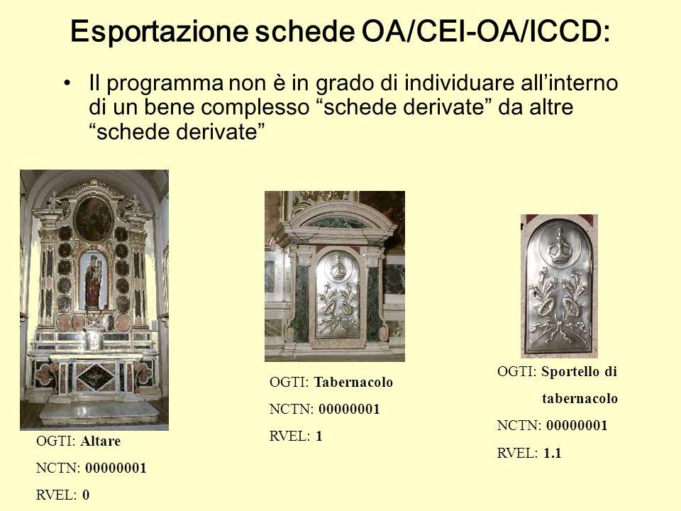 Il programma non è in grado di individuare allinterno di un bene complesso schede derivate da altre schede derivate OGTI: Altare NCTN: 00000001 RVEL: 0 OGTI: Tabernacolo NCTN: 00000001 RVEL: 1 OGTI: Sportello di tabernacolo NCTN: 00000001 RVEL: 1.1 Esportazione schede OA/CEI-OA/ICCD: