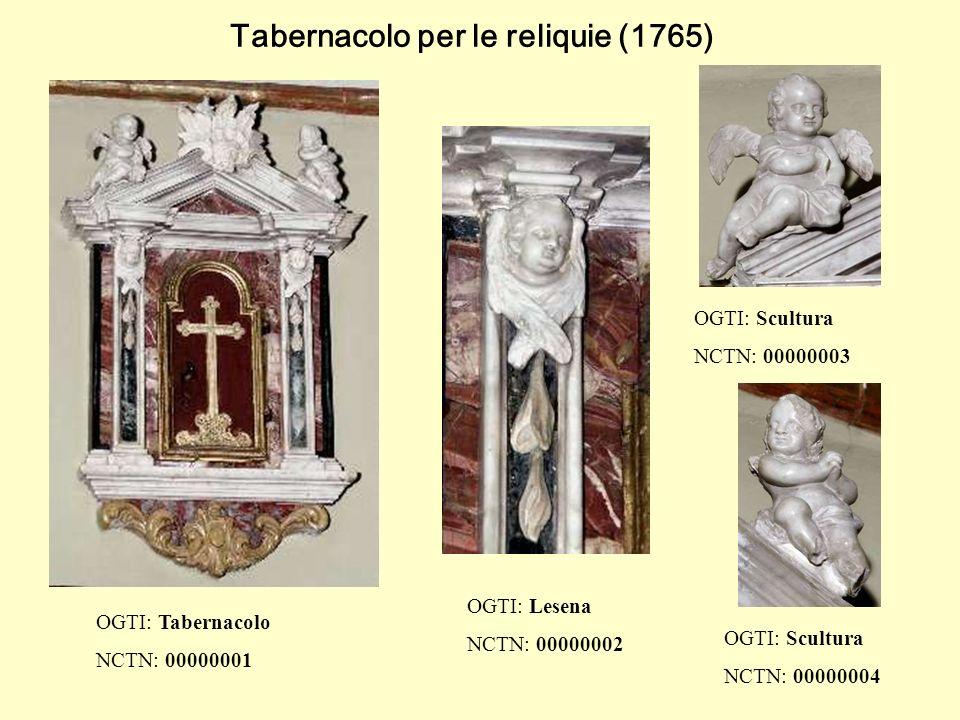 Tabernacolo per le reliquie (1765) OGTI: Tabernacolo NCTN: 00000001 OGTI: Scultura NCTN: 00000003 OGTI: Lesena NCTN: 00000002 OGTI: Scultura NCTN: 00000004
