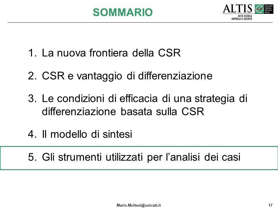 Mario.Molteni@unicatt.it17 1.La nuova frontiera della CSR 2.CSR e vantaggio di differenziazione 3.Le condizioni di efficacia di una strategia di diffe