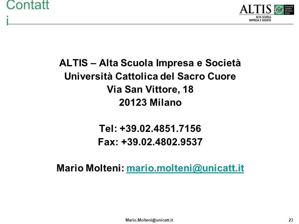 Mario.Molteni@unicatt.it23 Contatt i ALTIS – Alta Scuola Impresa e Società Università Cattolica del Sacro Cuore Via San Vittore, 18 20123 Milano Tel: