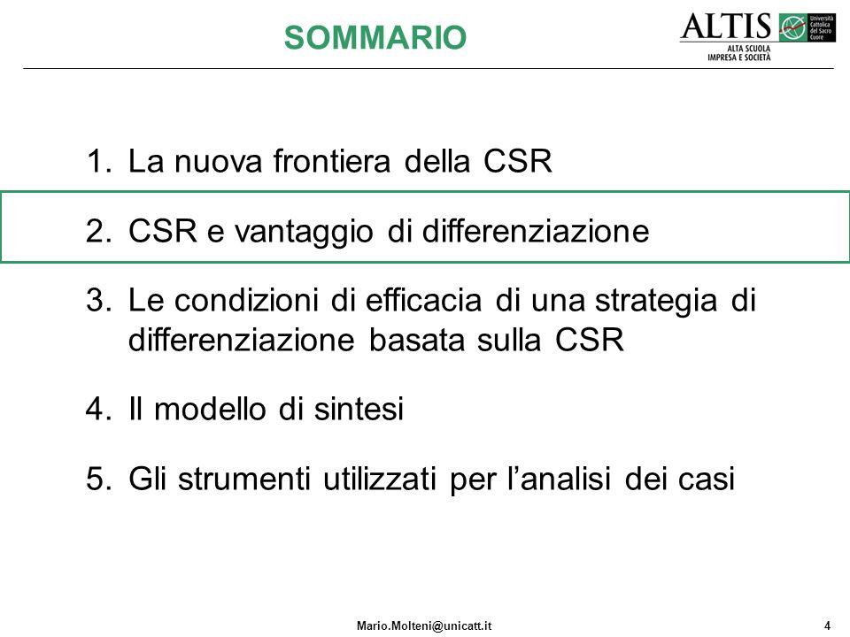 Mario.Molteni@unicatt.it4 1.La nuova frontiera della CSR 2.CSR e vantaggio di differenziazione 3.Le condizioni di efficacia di una strategia di differ