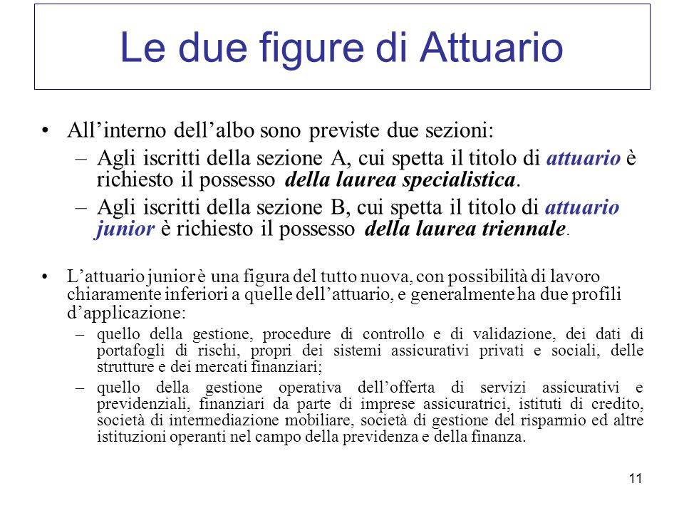 11 Le due figure di Attuario Allinterno dellalbo sono previste due sezioni: –Agli iscritti della sezione A, cui spetta il titolo di attuario è richies
