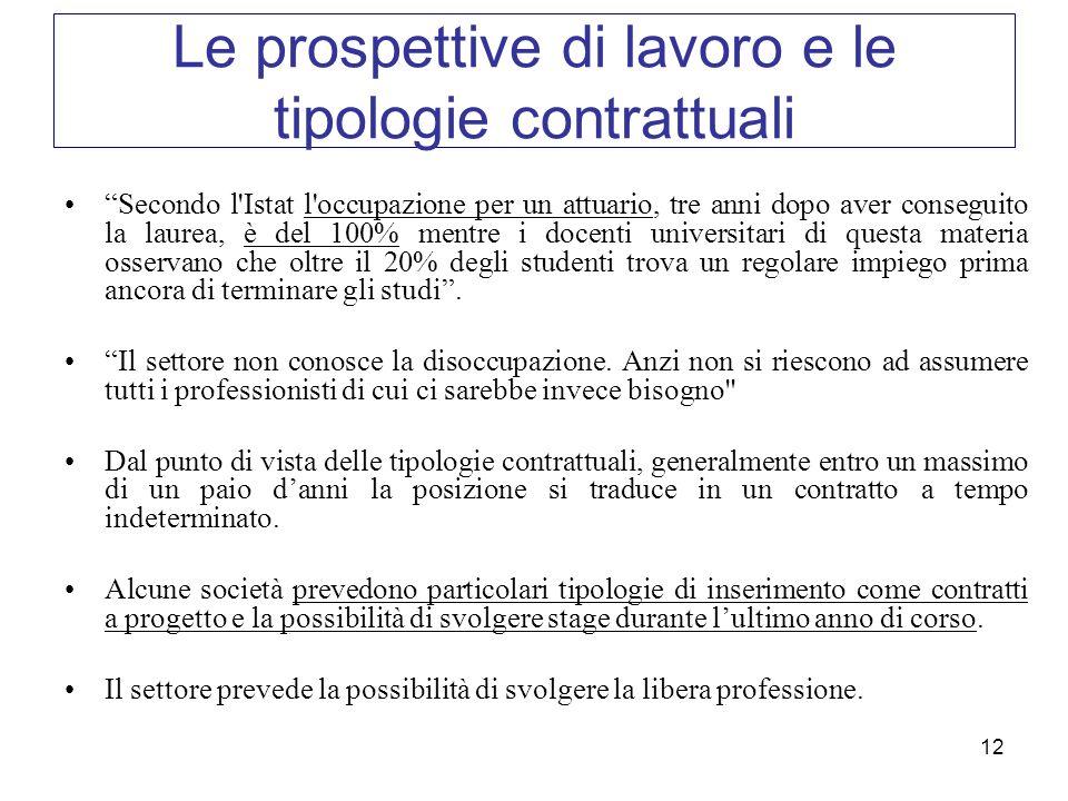 12 Le prospettive di lavoro e le tipologie contrattuali Secondo l'Istat l'occupazione per un attuario, tre anni dopo aver conseguito la laurea, è del