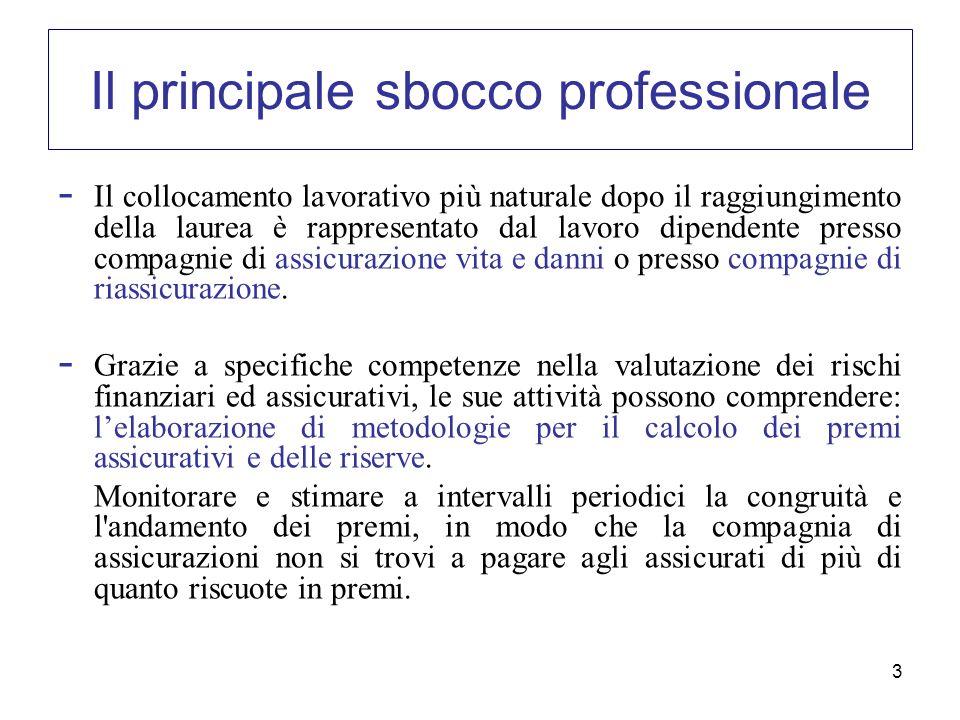 3 Il principale sbocco professionale - Il collocamento lavorativo più naturale dopo il raggiungimento della laurea è rappresentato dal lavoro dipenden