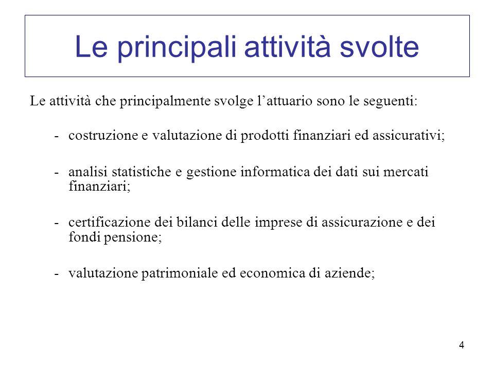 4 Le principali attività svolte Le attività che principalmente svolge lattuario sono le seguenti: -costruzione e valutazione di prodotti finanziari ed