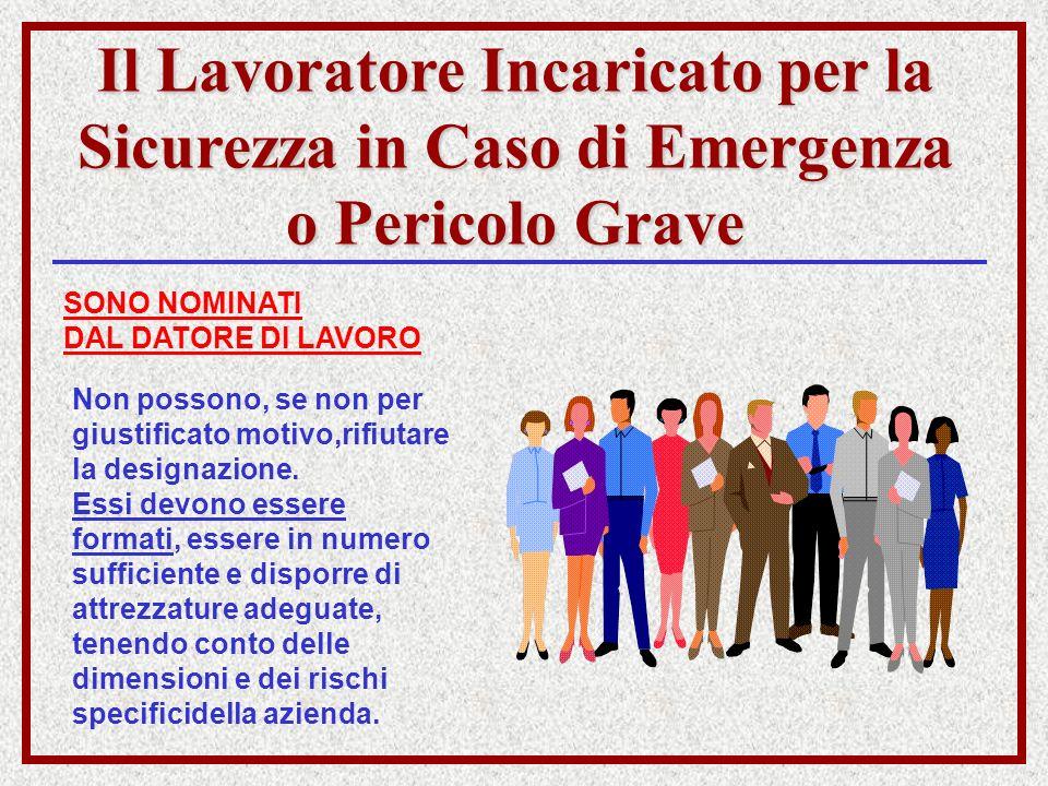 Il Lavoratore Incaricato per la Sicurezza in Caso di Emergenza o Pericolo Grave SONO NOMINATI DAL DATORE DI LAVORO Non possono, se non per giustificat