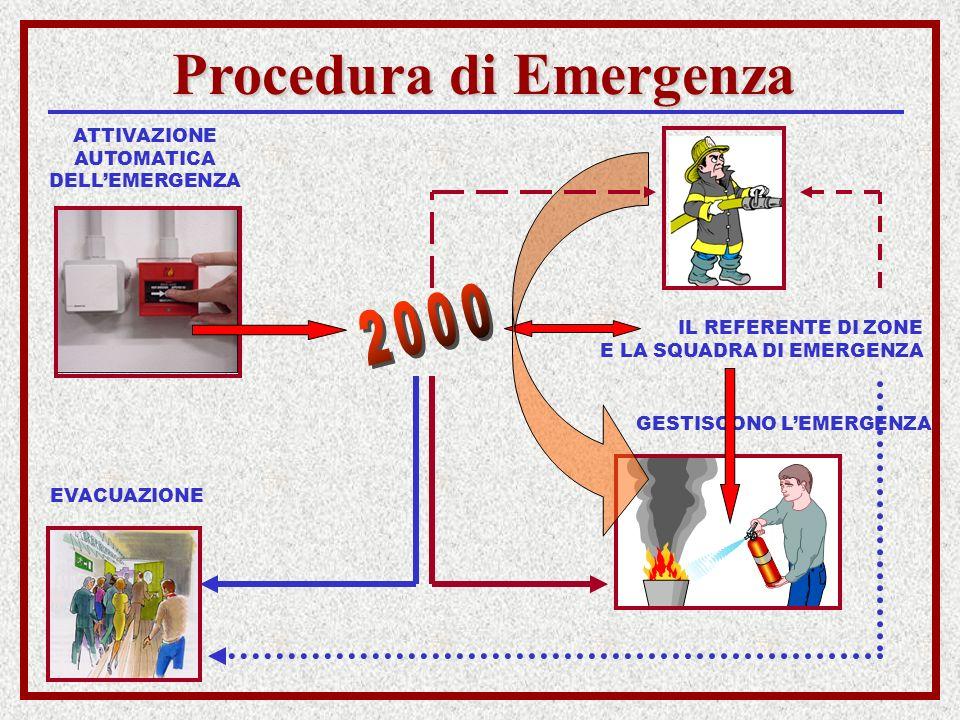 Procedura di Emergenza EVACUAZIONE ATTIVAZIONE AUTOMATICA DELLEMERGENZA IL REFERENTE DI ZONE E LA SQUADRA DI EMERGENZA GESTISCONO LEMERGENZA