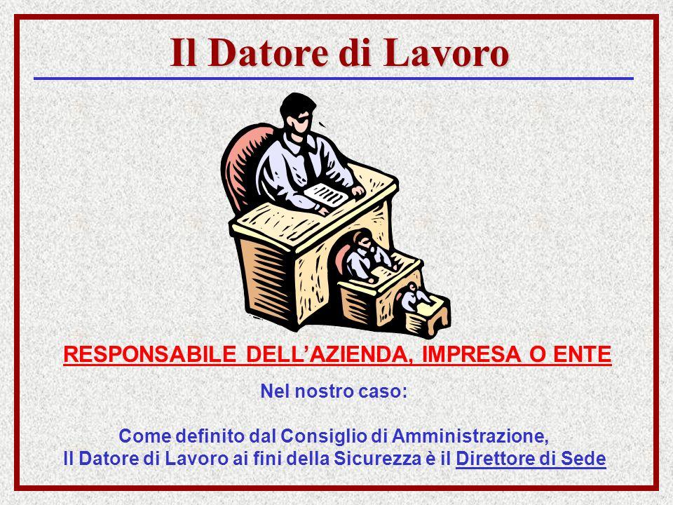 Il Datore di Lavoro RESPONSABILE DELLAZIENDA, IMPRESA O ENTE Nel nostro caso: Come definito dal Consiglio di Amministrazione, Il Datore di Lavoro ai f