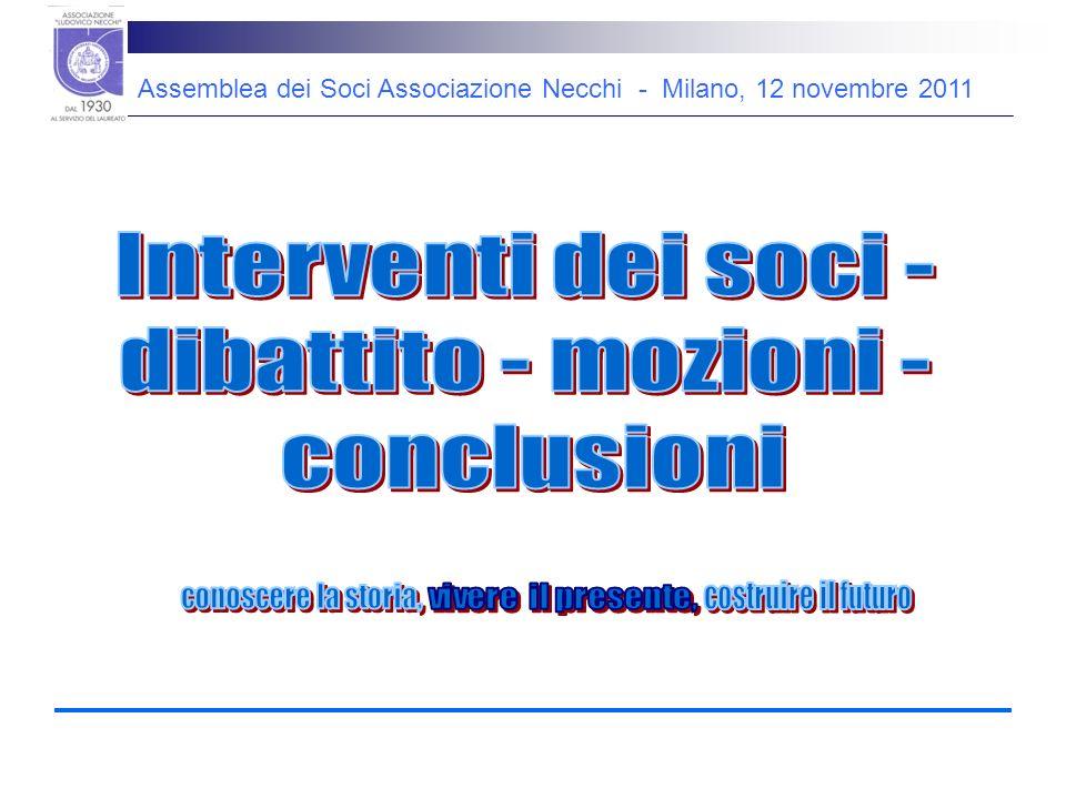 Assemblea dei Soci Associazione Necchi - Milano, 12 novembre 2011