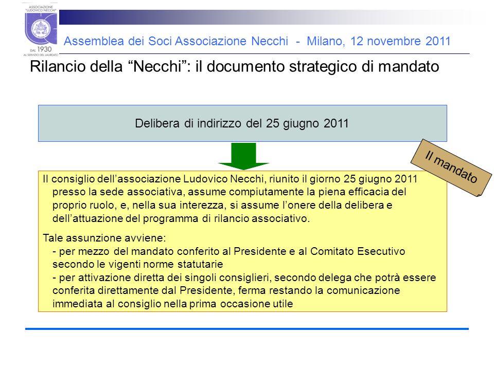 Assemblea dei Soci Associazione Necchi - Milano, 12 novembre 2011 Riassumiamo… Una delega funzionale che chiama ogni consigliere a dare il suo contributo originale.