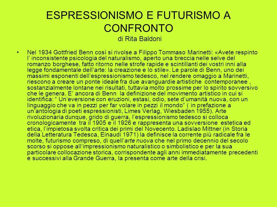 ESPRESSIONISMO E FUTURISMO A CONFRONTO di Rita Baldoni Nel 1934 Gottfried Benn così si rivolse a Filippo Tommaso Marinetti: «Avete respinto l inconsis