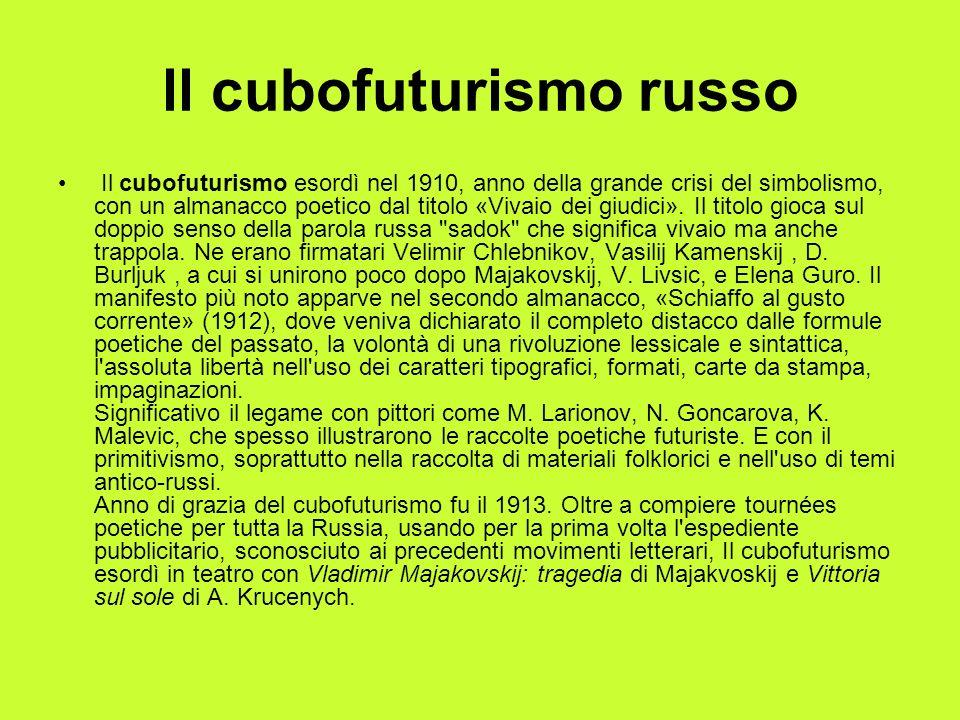 ll cubofuturismo russo Il cubofuturismo esordì nel 1910, anno della grande crisi del simbolismo, con un almanacco poetico dal titolo «Vivaio dei giudi