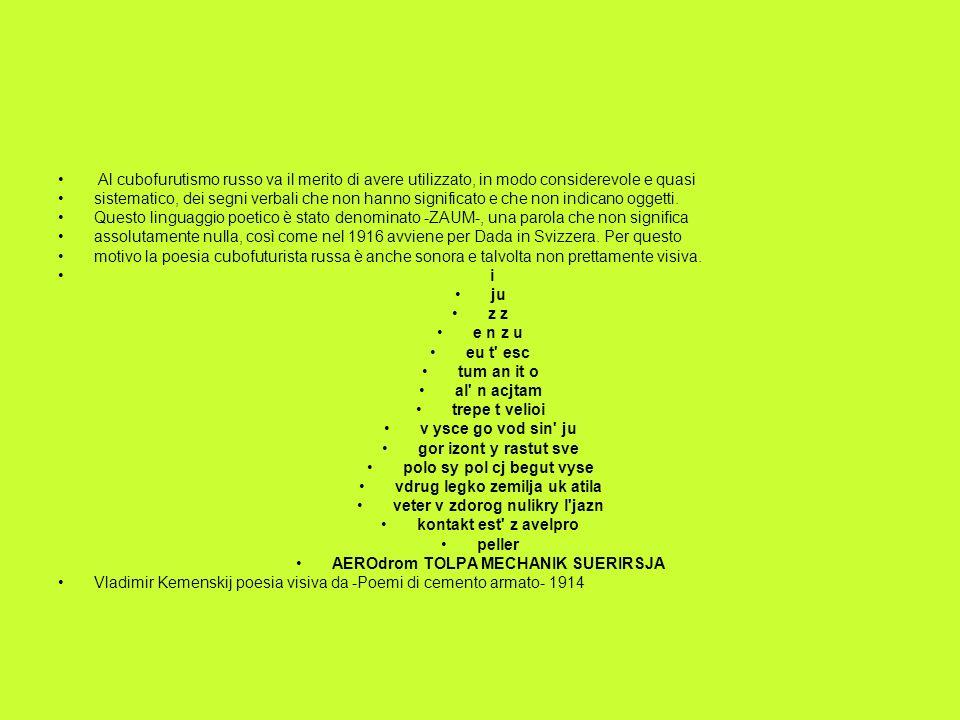 Al cubofurutismo russo va il merito di avere utilizzato, in modo considerevole e quasi sistematico, dei segni verbali che non hanno significato e che