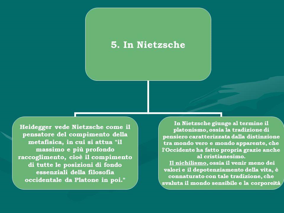 5. In Nietzsche Heidegger vede Nietzsche come il pensatore del compimento della metafisica, in cui si attua