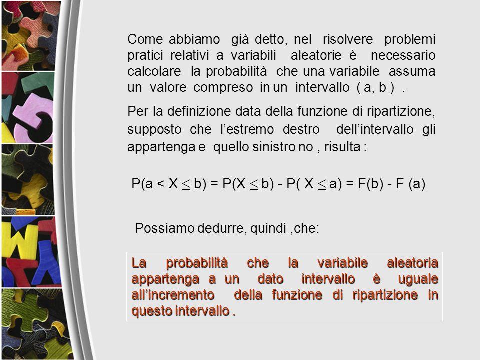 Come abbiamo già detto, nel risolvere problemi pratici relativi a variabili aleatorie è necessario calcolare la probabilità che una variabile assuma u