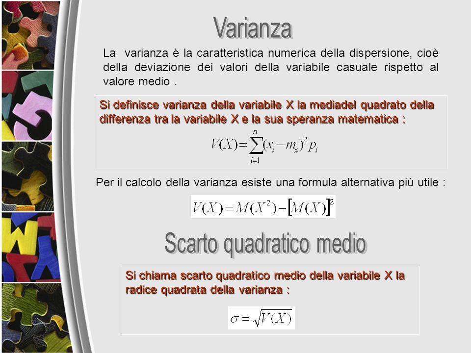 La varianza è la caratteristica numerica della dispersione, cioè della deviazione dei valori della variabile casuale rispetto al valore medio. Si chia