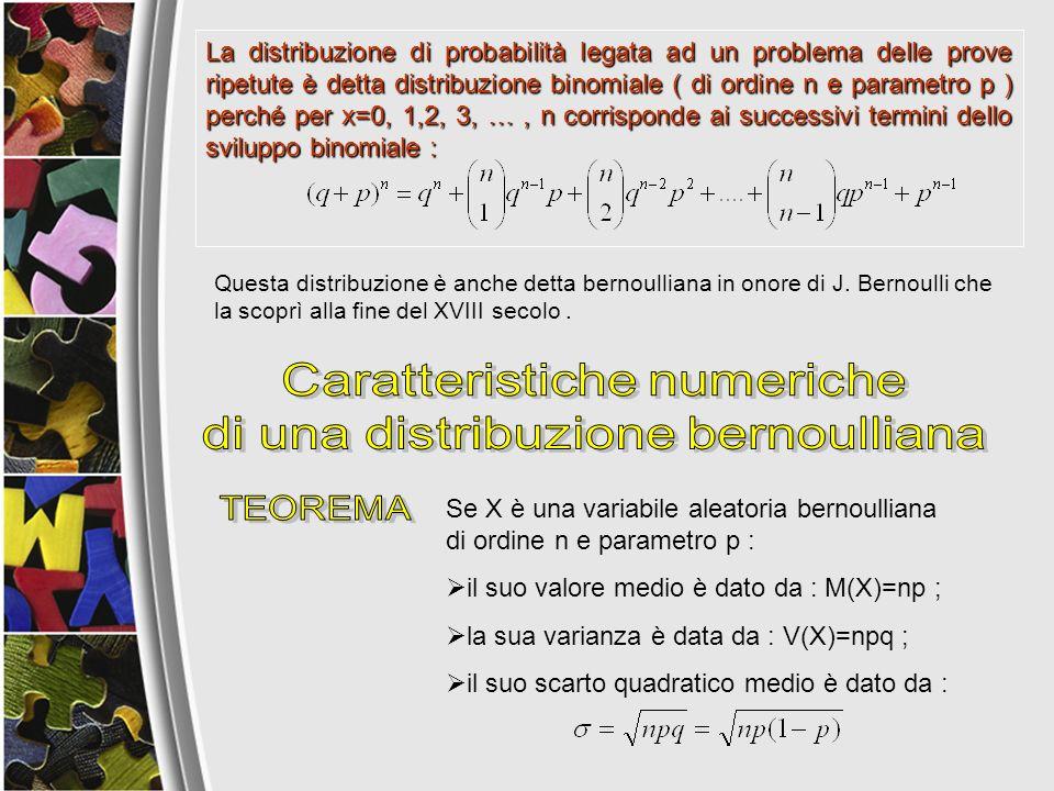La distribuzione di probabilità legata ad un problema delle prove ripetute è detta distribuzione binomiale ( di ordine n e parametro p ) perché per x=