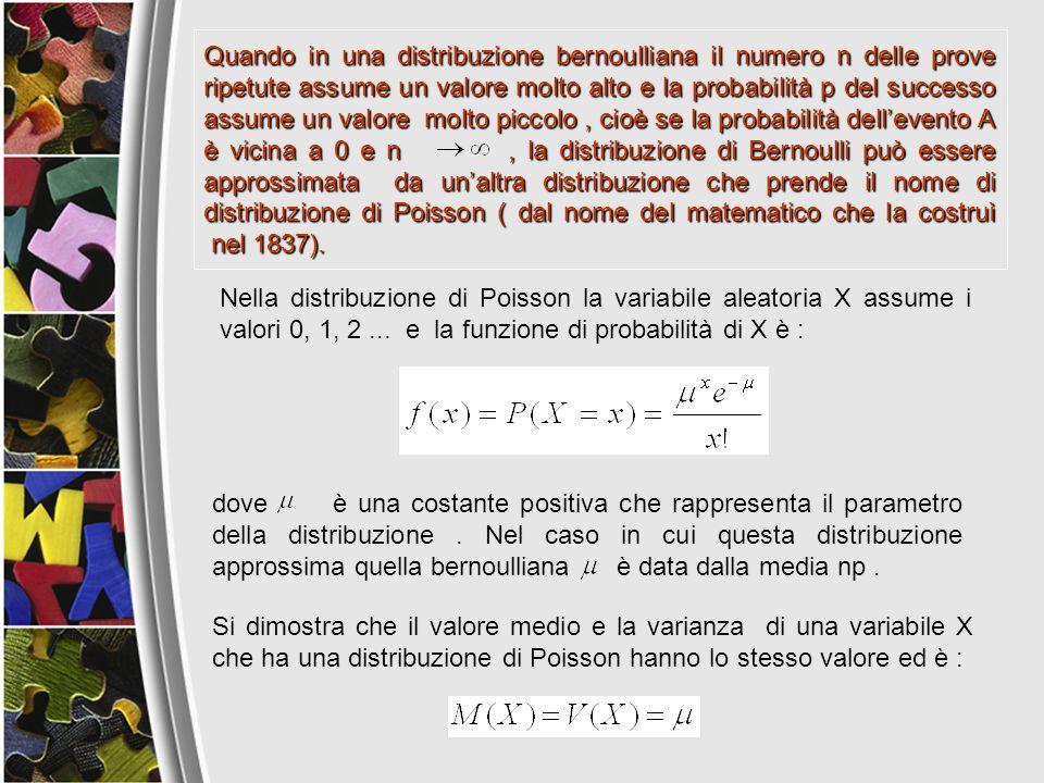 dove è una costante positiva che rappresenta il parametro della distribuzione. Nel caso in cui questa distribuzione approssima quella bernoulliana è d
