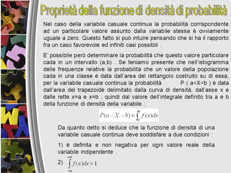 Nel caso della variabile casuale continua la probabilità corrispondente ad un particolare valore assunto dalla variabile stessa è ovviamente uguale a