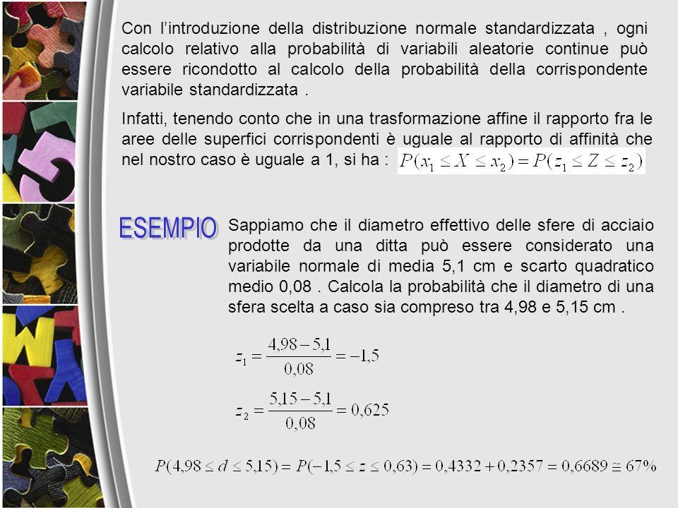 Con lintroduzione della distribuzione normale standardizzata, ogni calcolo relativo alla probabilità di variabili aleatorie continue può essere ricond