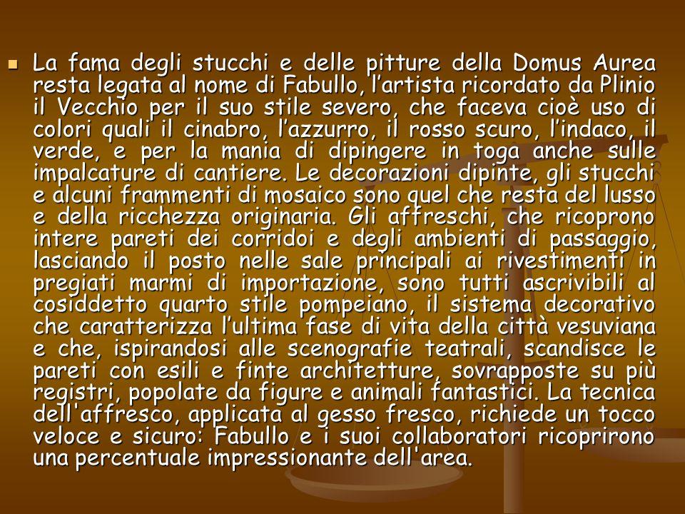 La fama degli stucchi e delle pitture della Domus Aurea resta legata al nome di Fabullo, lartista ricordato da Plinio il Vecchio per il suo stile seve