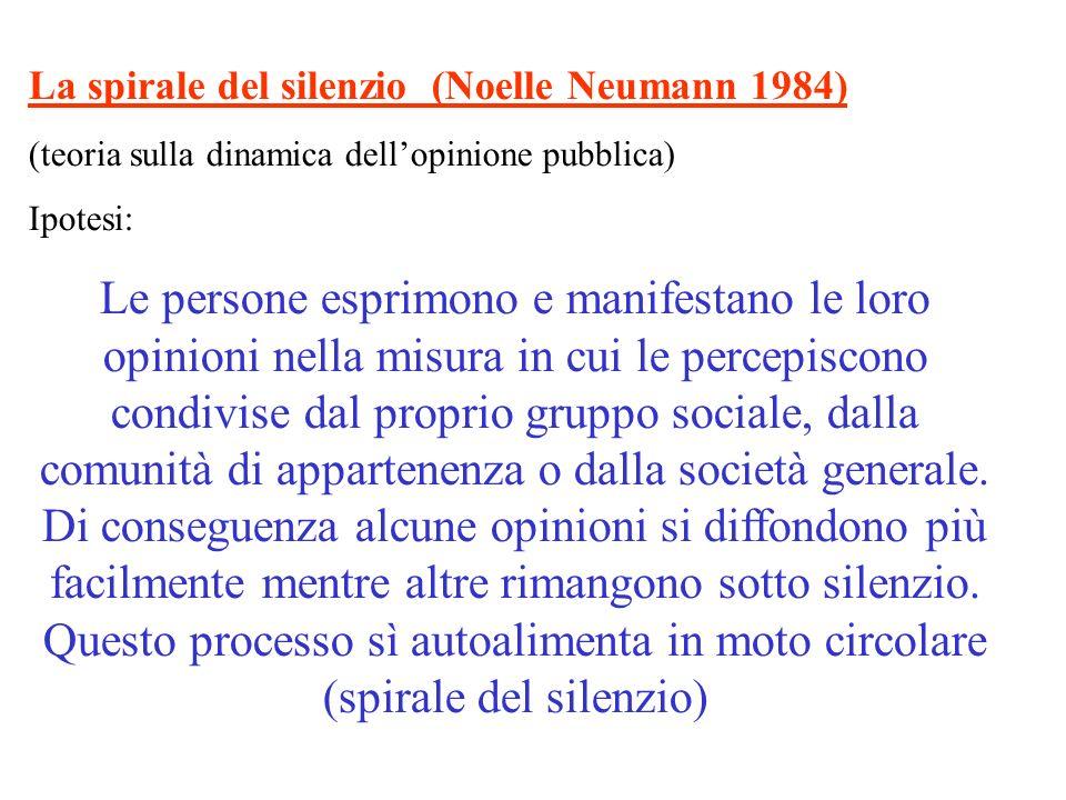 La spirale del silenzio (Noelle Neumann 1984) (teoria sulla dinamica dellopinione pubblica) Ipotesi: Le persone esprimono e manifestano le loro opinio