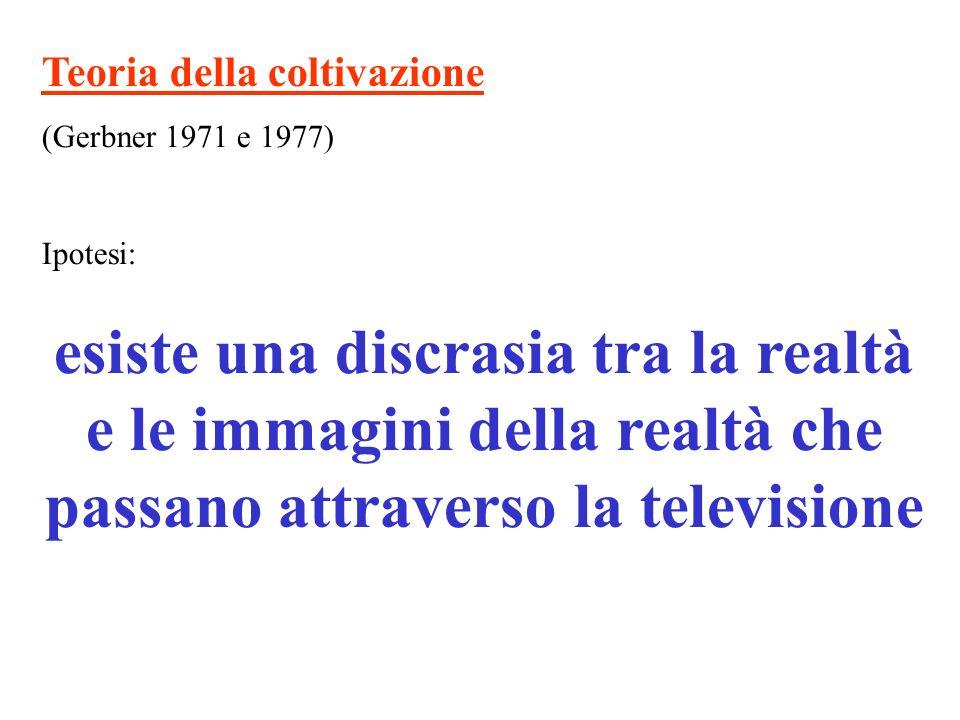 Teoria della coltivazione (Gerbner 1971 e 1977) Ipotesi: esiste una discrasia tra la realtà e le immagini della realtà che passano attraverso la telev