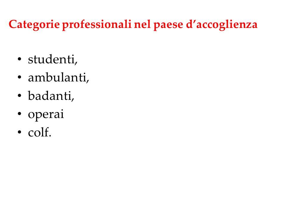Categorie professionali nel paese daccoglienza studenti, ambulanti, badanti, operai colf.