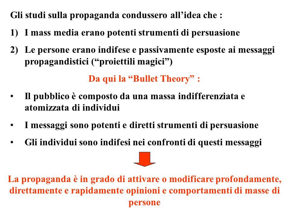 Gli studi sulla propaganda condussero allidea che : 1)I mass media erano potenti strumenti di persuasione 2)Le persone erano indifese e passivamente e