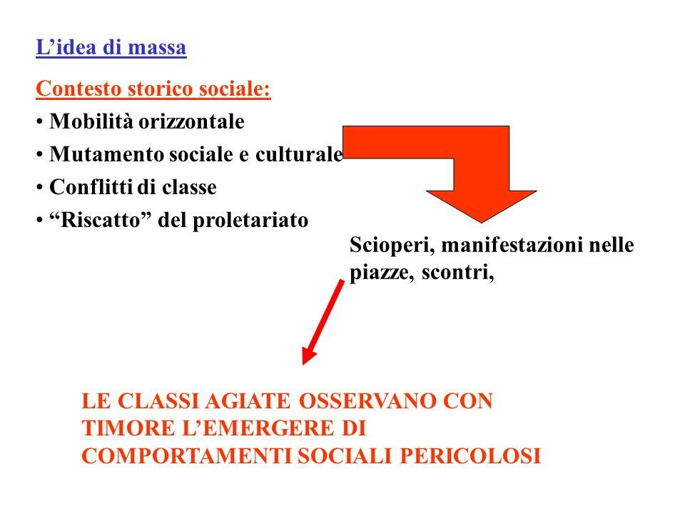 Lidea di massa Contesto storico sociale: Mobilità orizzontale Mutamento sociale e culturale Conflitti di classe Riscatto del proletariato Scioperi, ma