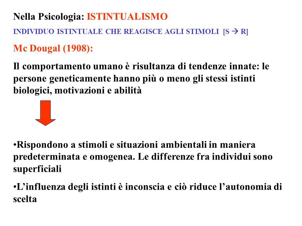 Nella Psicologia: ISTINTUALISMO INDIVIDUO ISTINTUALE CHE REAGISCE AGLI STIMOLI [S R] Mc Dougal (1908): Il comportamento umano è risultanza di tendenze