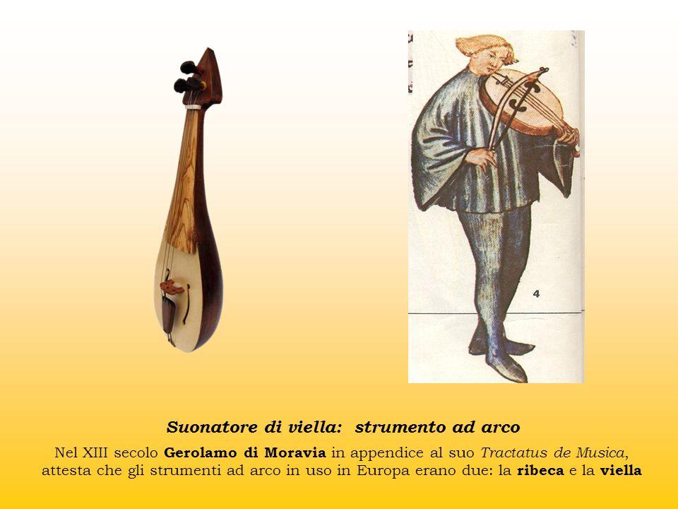 Suonatore di viella: strumento ad arco Nel XIII secolo Gerolamo di Moravia in appendice al suo Tractatus de Musica, attesta che gli strumenti ad arco