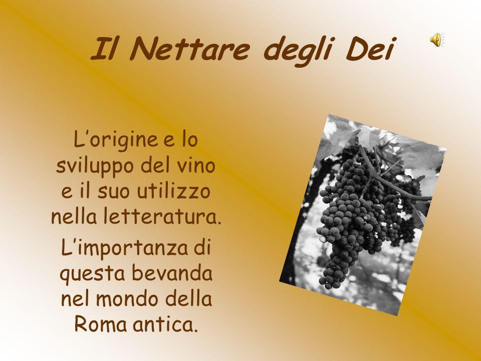 Il Nettare degli Dei Lorigine e lo sviluppo del vino e il suo utilizzo nella letteratura. Limportanza di questa bevanda nel mondo della Roma antica.