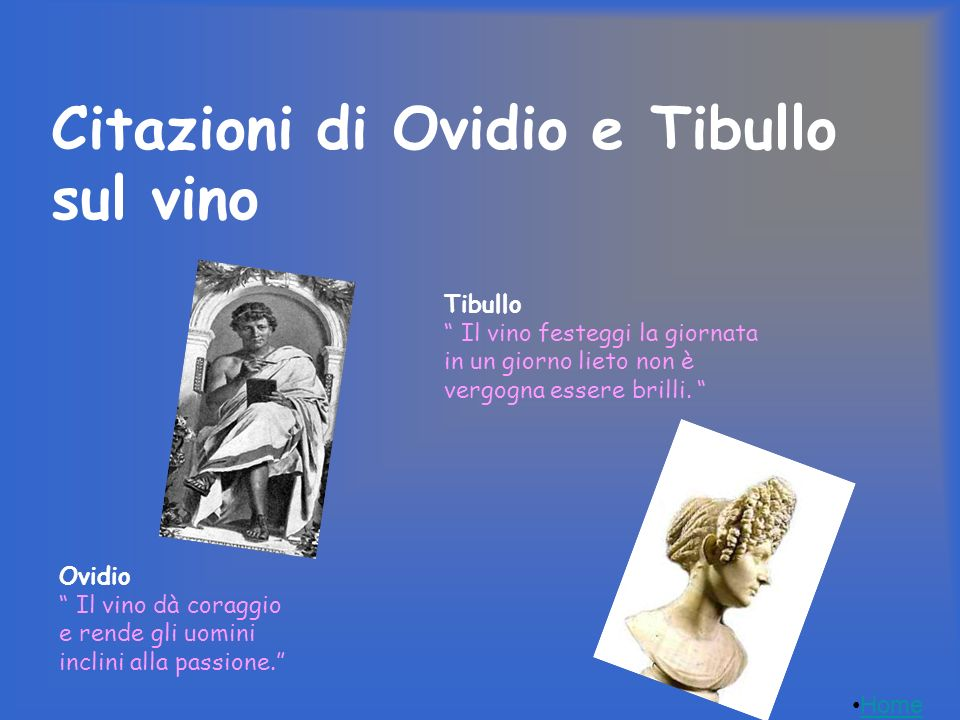 Ovidio Il vino dà coraggio e rende gli uomini inclini alla passione. Tibullo Il vino festeggi la giornata in un giorno lieto non è vergogna essere bri
