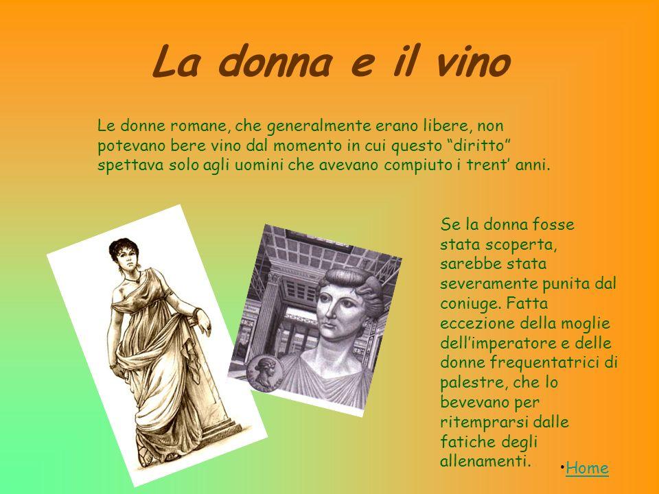La donna e il vino Se la donna fosse stata scoperta, sarebbe stata severamente punita dal coniuge. Fatta eccezione della moglie dellimperatore e delle