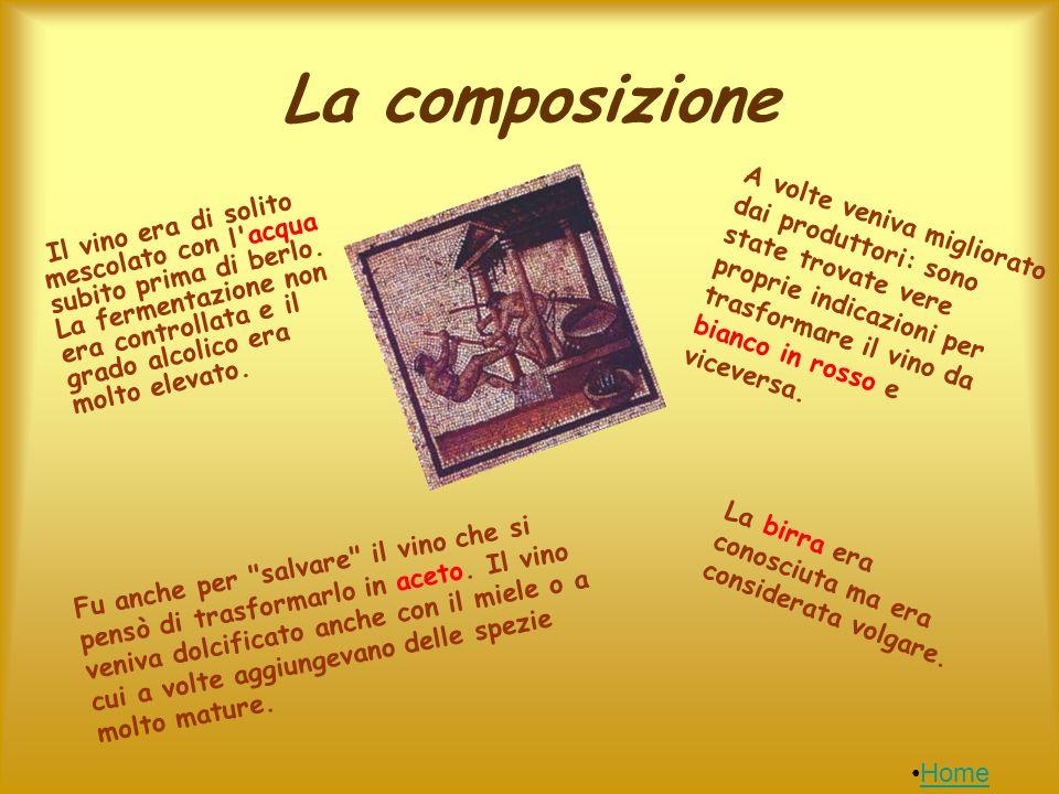 La composizione A volte veniva migliorato dai produttori: sono state trovate vere proprie indicazioni per trasformare il vino da bianco in rosso e viceversa.