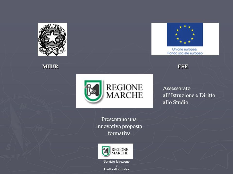 Servizio Istruzione e Diritto allo Studio MIUR FSE MIUR FSE Presentano una innovativa proposta formativa Assessorato allIstruzione e Diritto allo Studio