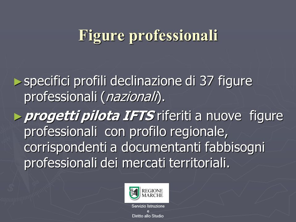 Servizio Istruzione e Diritto allo Studio Figure professionali specifici profili declinazione di 37 figure professionali (nazionali). specifici profil