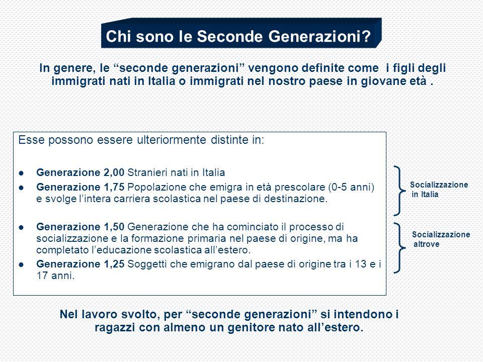 Esse possono essere ulteriormente distinte in: Generazione 2,00 Stranieri nati in Italia Generazione 1,75 Popolazione che emigra in età prescolare (0-5 anni) e svolge lintera carriera scolastica nel paese di destinazione.
