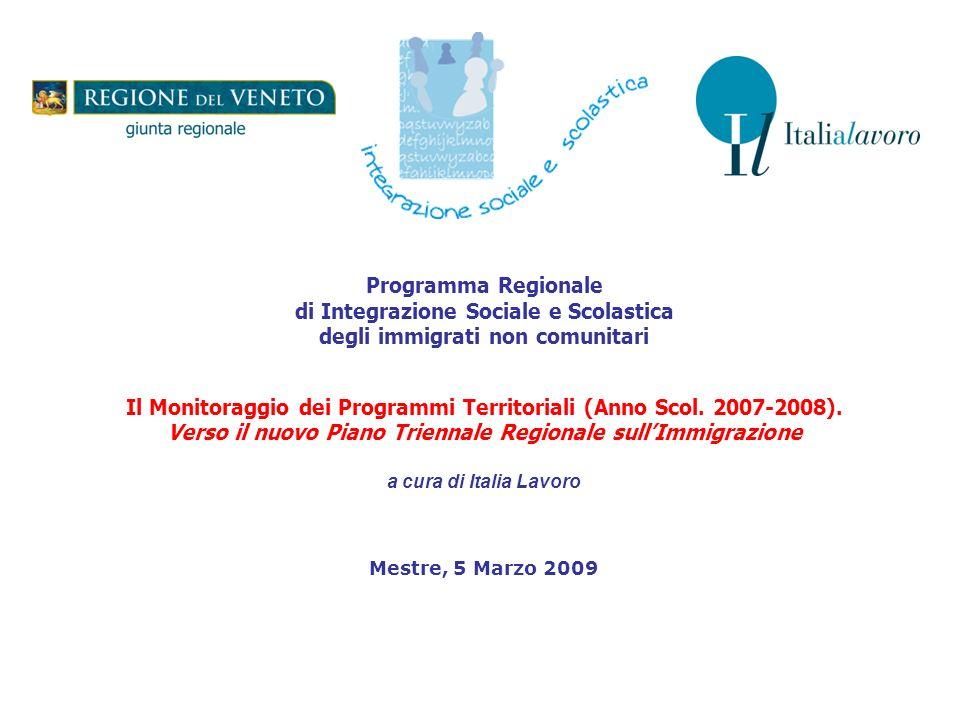 Programma Regionale di Integrazione Sociale e Scolastica degli immigrati non comunitari Il Monitoraggio dei Programmi Territoriali (Anno Scol.