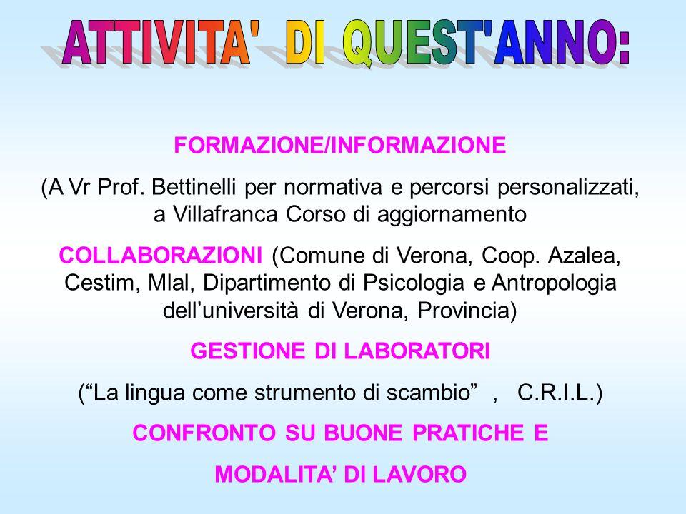 FORMAZIONE/INFORMAZIONE (A Vr Prof. Bettinelli per normativa e percorsi personalizzati, a Villafranca Corso di aggiornamento COLLABORAZIONI (Comune di