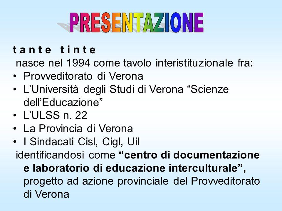 t a n t e t i n t e nasce nel 1994 come tavolo interistituzionale fra: Provveditorato di Verona LUniversità degli Studi di Verona Scienze dellEducazio