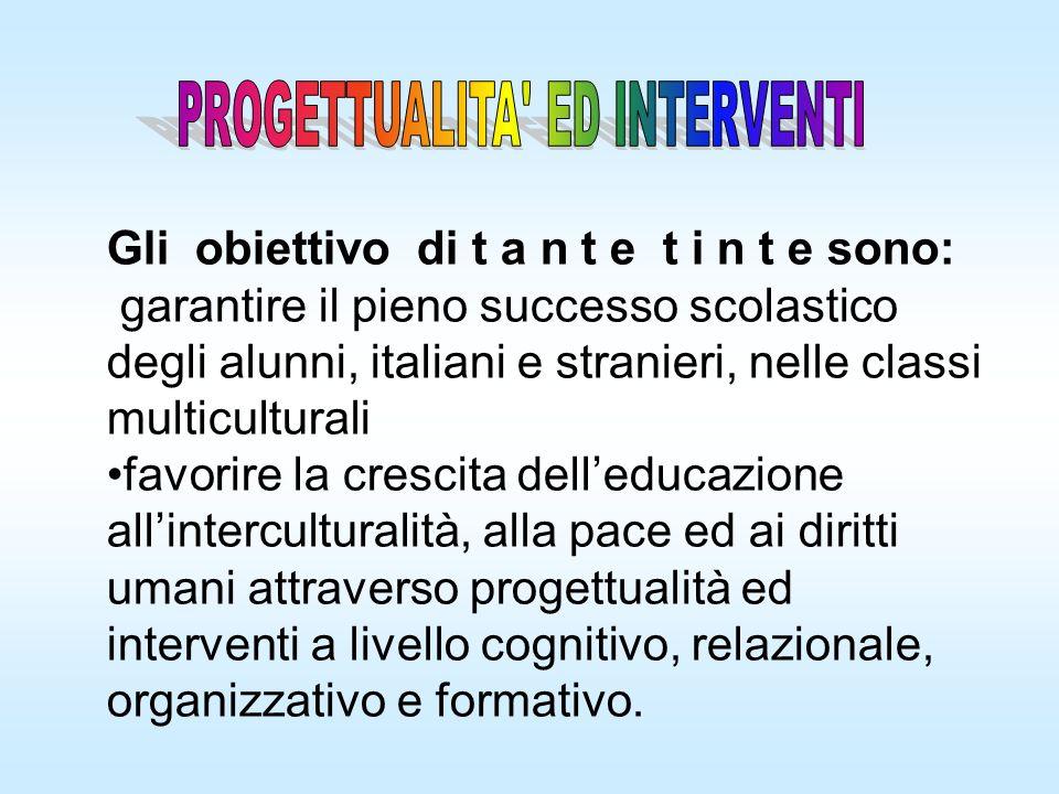 Gli obiettivo di t a n t e t i n t e sono: garantire il pieno successo scolastico degli alunni, italiani e stranieri, nelle classi multiculturali favo