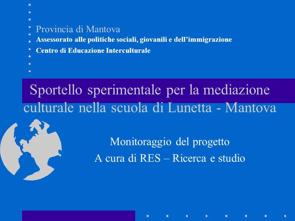 Sportello sperimentale per la mediazione culturale nella scuola di Lunetta - Mantova Monitoraggio del progetto A cura di RES – Ricerca e studio Provin