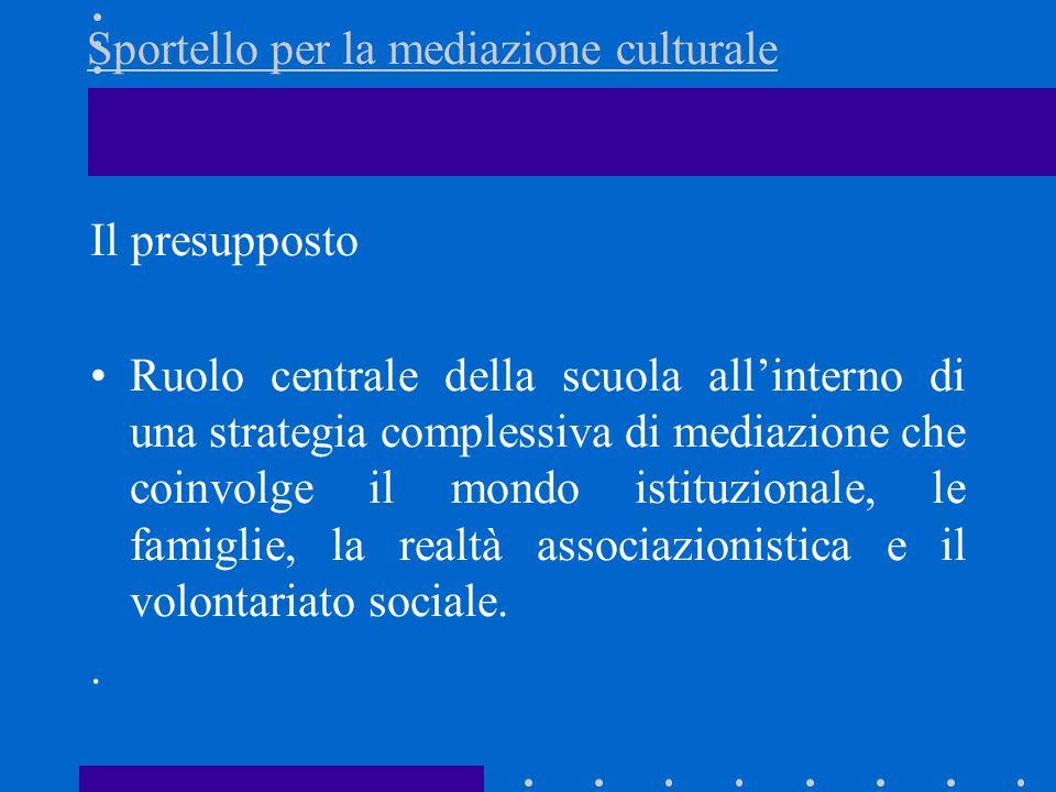 Sportello per la mediazione culturale Il presupposto Ruolo centrale della scuola allinterno di una strategia complessiva di mediazione che coinvolge i