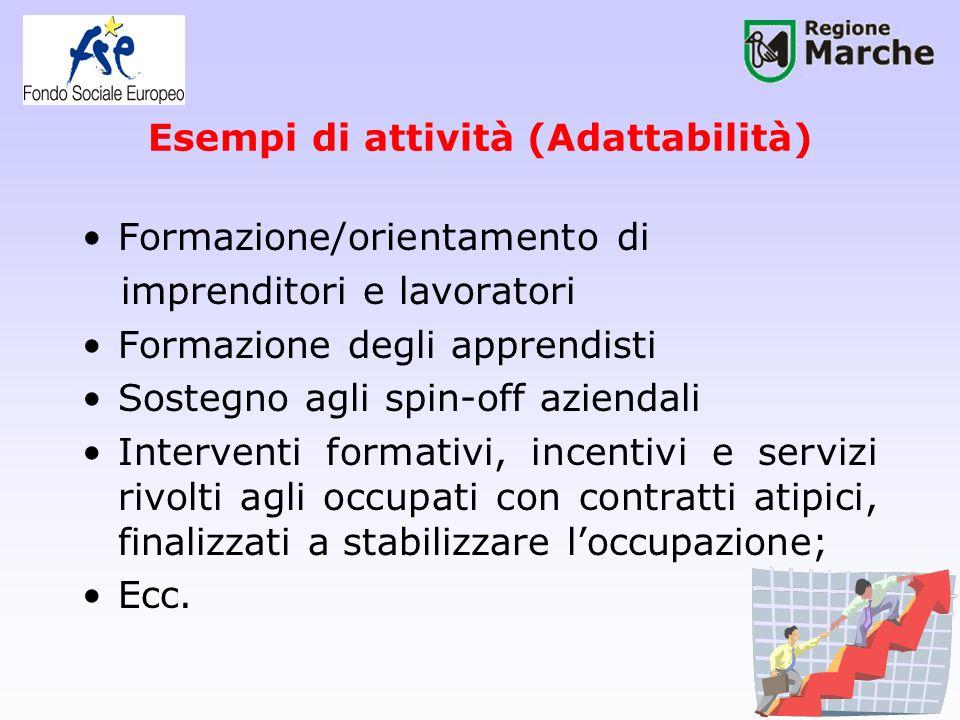 Esempi di attività (Adattabilità) Formazione/orientamento di imprenditori e lavoratori Formazione degli apprendisti Sostegno agli spin-off aziendali I