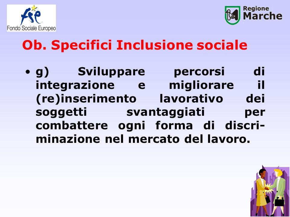 Ob. Specifici Inclusione sociale g) Sviluppare percorsi di integrazione e migliorare il (re)inserimento lavorativo dei soggetti svantaggiati per comba