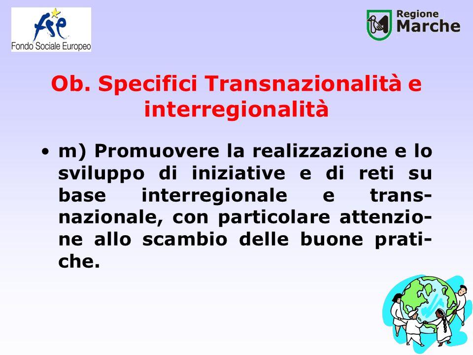 Ob. Specifici Transnazionalità e interregionalità m) Promuovere la realizzazione e lo sviluppo di iniziative e di reti su base interregionale e trans-